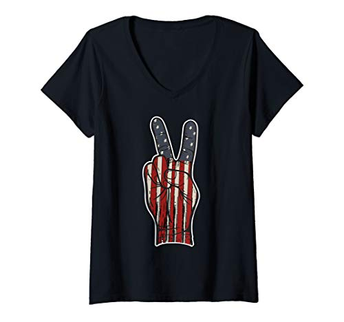 Womens 4th of July American Flag Peace Sign Hand US Vintage Fourth  V-Neck ()