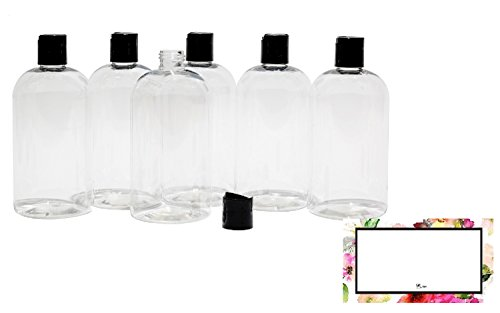 BAIRE BOTTLES - 16 OZ CLEAR PLASTIC REFILLABLE BOTTLES with Black HAND-PRESS FLIP DISC CAPS - ORGANIZE Soap, Shampoo, Lotion with a Clean, Clear Look - PET, BPA Free - 6 Pack, BONUS 6 FLORAL LABELS Alpha Base Caps