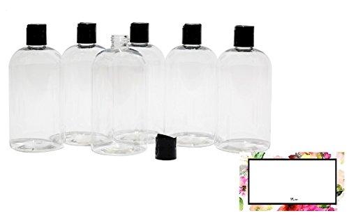 BAIRE BOTTLES - 16 OZ CLEAR PLASTIC REFILLABLE BOTTLES with Black HAND-PRESS FLIP DISC CAPS - ORGANIZE Soap, Shampoo, Lotion with a Clean, Clear Look - PET, BPA Free - 6 Pack, BONUS 6 FLORAL LABELS