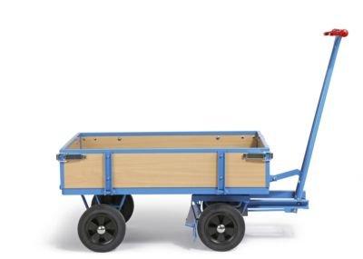 EUROKRAFT Handpritschenwagen - Tragfähigkeit 500 kg, mit 4 Bordwänden Ladefläche 1210 x 760 mm, Vollgummireifen - Handpritschenwagen Handwagen Pritsche Pritschen Pritschenwagen