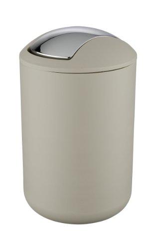 WENKO 21222100 Schwingdeckeleimer Brasil Taupe L - absolut bruchsicher, Fassungsvermögen 6.5 L, Thermoplastischer Kunststoff (TPE), 19.5 x 31 x 19.5 cm