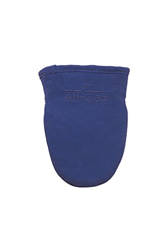 (All-Clad Textiles Steam Resistant Heavyweight Cotton Twill Grabber Oven Mitt with Non-Slip Silicone Grip, Cobalt Blue)