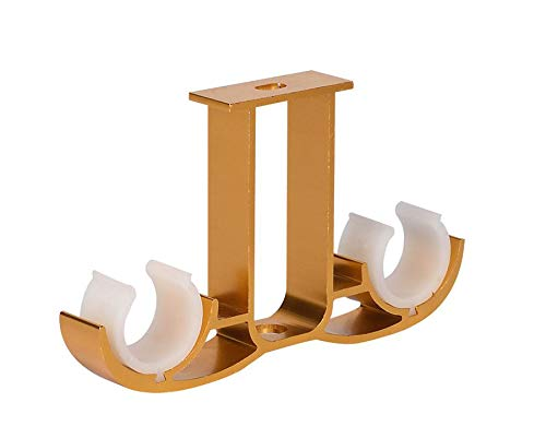 Guard 4 Pack Double Curtain Rod Brackets,Ceiling Mount Bracket,Aluminum Alloy Double Curtain Drapery Rod Brackets for 28-32mm/1.1-1.25 Inch Diameter Rod,Satin Gold Finish, Set of 4