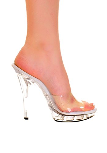 "Highest Heel QUEST-11-RS Women's 5"" Platform Mule Clear W/Rhinestone Strip Upper - CLEAR - 7 from The Highest Heel Enterprises LLC"