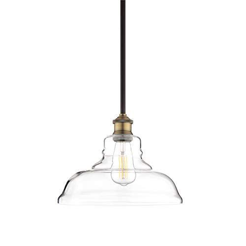 Lucera Glass Kitchen Pendant Light | Antique Brass Farmhouse Hanging Light Fixture LL-P431-AB