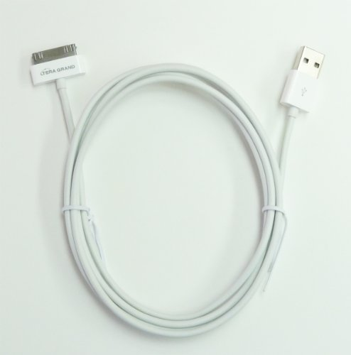 Apple MFi Certified - Apple 30-pin to USB Sync and Charging Cable, 6 Feet White for all 30-pin iPhone 4/4S, iPhone 3G/3GS, iPad 1/2/3, iPod Touch 1 to 4, iPod Nano 1 to 6