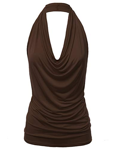 - FASHIONOLIC Women's Casual Halter Neck Draped Front Sexy Backless Tank Top (S-3XL) (CLLTJ316) Brown M