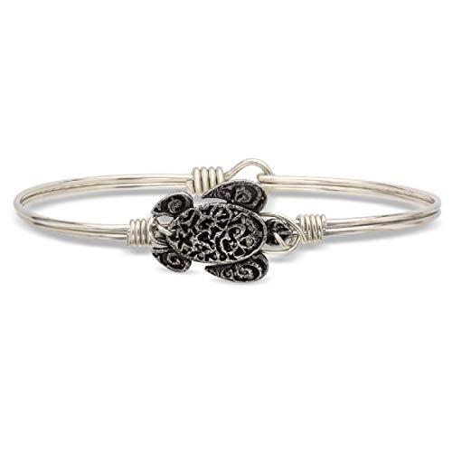 (Luca + Danni Sea Turtle Bangle Bracelet - Regular/Silver Tone )