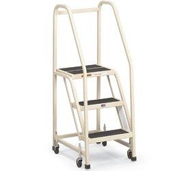 EGA Mobile Office Ladder - Four Step with Hand Rails - Sandalwood