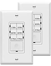 Enerlites HET06 in-Wall Digital Countdown Timer Switch, Fan Switch Timer, Timer Switch for Light,Free Decorator Wall Plate- 5,10,30,60 Minutes, 2,4 Hours, Neutral Wire Required, 2 Pack, UL Listed