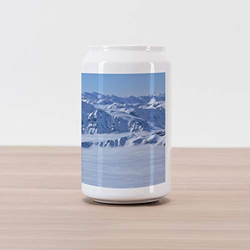 (Ambesonne Mountain Cola Can Shape Piggy Bank, Fantasy Dream Land Over The Austrian Alps Summit Climate Skiing Snowfall Fir Theme, Ceramic Cola Shaped Coin Box Money Bank for Cash Saving, White)