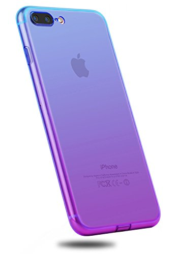 iPhone 8 Plus Case,CLONG iPhone 7 Plus Colorful Clear Slim Case Translucent Impact Resistant Protective Shell Flexible Soft TPU Bumper Cover for Apple iPhone 7 Plus/iPhone 8 Plus 5.5(Blue&Purple)