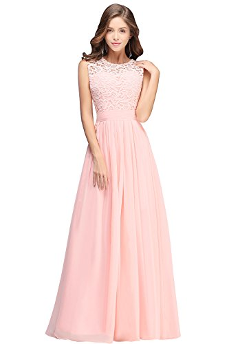 Hochzeit MisShow 2018 Damen Elegant Abendkleid Chiffon Brautjungfernkleid Rosa Kleider Lang Festliche Cocktailkleid n8HOHqxvdw