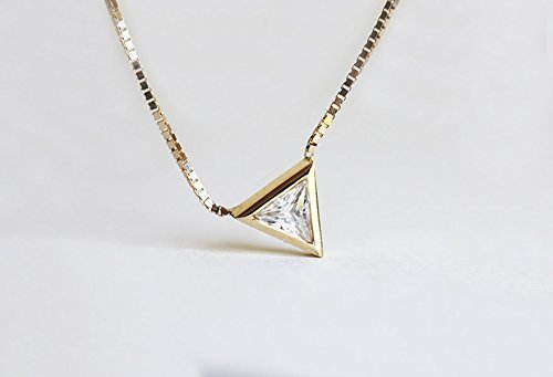 Trillion Diamond Necklace, Solitaire Diamond Necklace, Triangle Necklace, Dainty 14k Gold Necklace