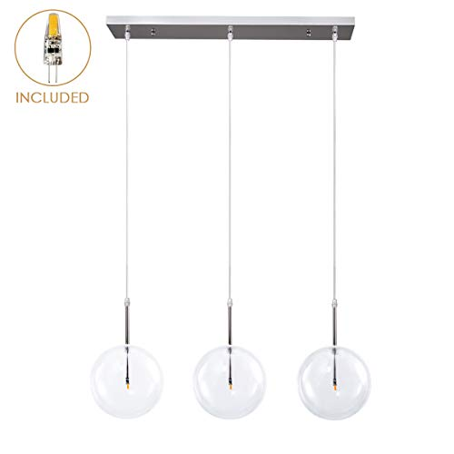 (Industrial 3-Light Big Clear Glass Globe Pendant Lighting, Modern Minimalist Glass Globe Nickel Plated Ceiling Hanging Pendant Light for Living Room Kitchen Island Dinning Room Restaurant)
