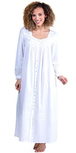 (Eileen West Cotton Lawn Button-Front Gown/Robe - White Duchess (White, Medium))