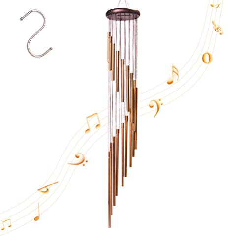 4-FQ Wind Chimes, Wind Bells Outdoor Long Garden Chimes Wind Chimes Outdoor Amazing Grace Windchimes Large Deep Tone for Home Garden Decoration (Golden)