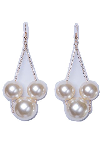 CE0135 - WOMEN'S FASHIONABLE RHINESTONE AND PEARL DROP EARRINGS (GOLD (Pearl Duster)