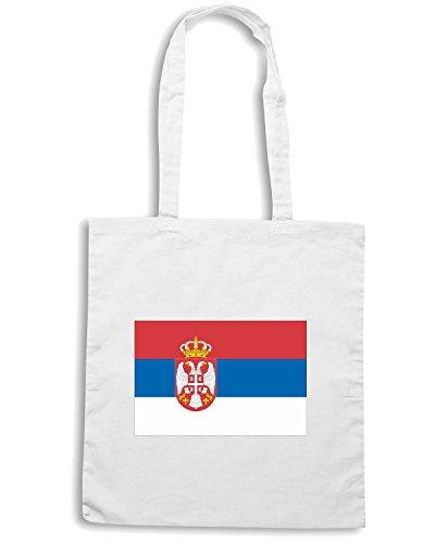 T-Shirtshock - Bolsa para la compra TM0239 Serbia flag Blanco