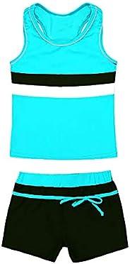 YUUMIN Kids Girls Swimsuit Two Pieces Tankini Swimwear with Boyshort Summer Beach Bathing Suit