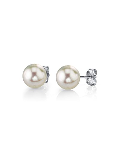 (THE PEARL SOURCE 14K Gold 5-5.5mm AAA Quality Round White Cultured Akoya Stud Pearl Earrings for Women)