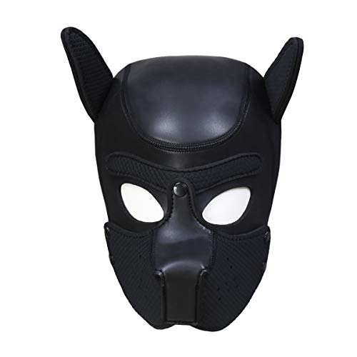 Zhengya Full Face Mask Dog Puppy Hood Leather Helmet Removable Mouth Cosplay Costume Party Props (Large, Deep Black)