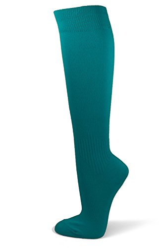 Couver Unisex Polyester Soccer Knee High Socks Sports Team Socks (Large, Turquoise) -