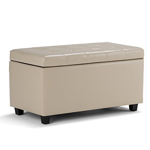 Simpli Home AY-S-38-CR Cosmopolitan 34 inch Wide Contemporary  Storage Ottoman in Satin Cream Faux -