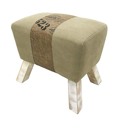 YIFONTIN Antique Ottoman Foot Rest Stool, Antique Upholstered Ottomans Footrest Pouf with Solid Wood Leg, Stylish Contemporary Joint Multicolor Faux Suede and Canvas Ottoman Stool for Living Room