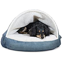 Furhaven Pet Cooling Gel Memory Foam Orthopedic Round Faux Sheepskin Snuggery Pet Bed for Dogs and Cats, Blue, 26-Inch