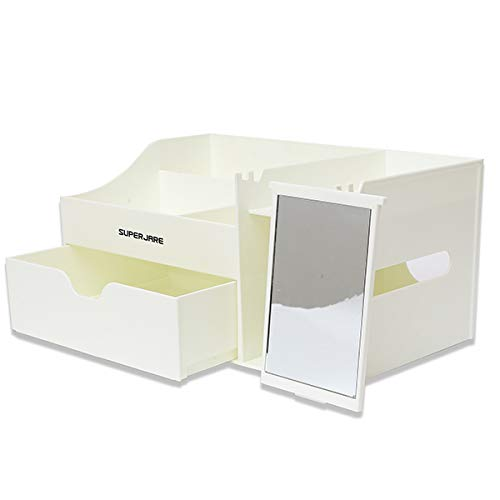 "Superjare Large Makeup Organizer Cosmetic Storage Display Boxes with Drawers and Mirror White 13"" 60202W from SUPERJARE"