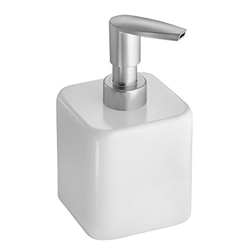 InterDesign Gia Liquid Soap & Lotion Dispenser Pump for Kitchen or Bathroom Countertops, White/Brushed Nickel