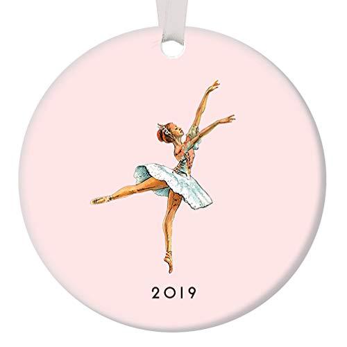 "Christmas 2019 Ballerina Ornament Classic Nutcracker Dancing Sugarplum Fairy Ballet Dance Performance Porcelain Decoration 3"" Flat Pink Ceramic Dancer Keepsake w White Ribbon & Free Gift Box OR00031"