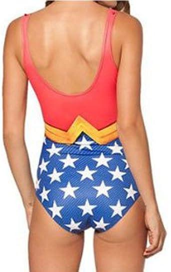 Petite Ladies Wonderwoman Leotard Cartoon Character Swimsuit