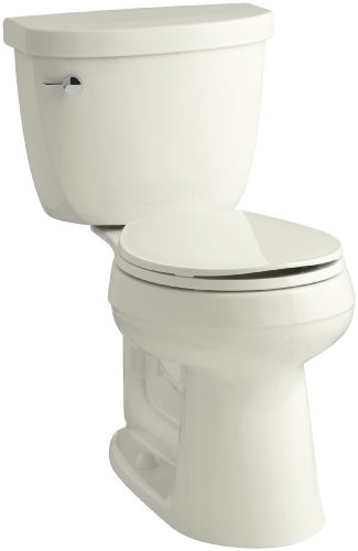 Height Two Piece Round Front (KOHLER K-3887-U-96 Cimarron Comfort Height Two-Piece Round-Front 1.28 Gpf Toilet with Aquapiston Flush Technology, Insuliner Tank Liner and Left-Hand Trip Lever, Biscuit)