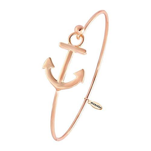 (NOUMANDA Women's Nautical Jewelry Sailor's Anchor Easy Open Hook Bracelet Bangle (Rose Gold) )