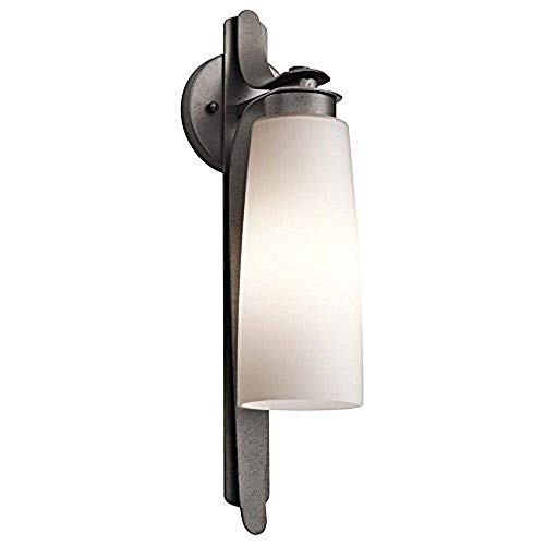 Kichler  49025AVI Vitalino 1-Light Exterior Wall Mount, Anvil Iron Finish with Satin Etched Cased Opal Glass Review