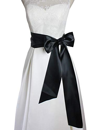 Leimandy 4'' Wide 90 Long Simple Ribbon Sash for Formal Wedding Dress Belts (Black)
