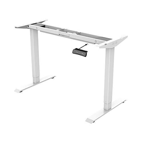ED2W Marco de escritorio de pie con altura ajustable electrica, escritorio de pie de acero solido con teclado de memoria automatica inteligente (blanco)