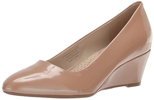 Low Leather Patent Heel - Aerosoles - Women's Inner Circle Heel - Leather Pointed Toe Dress Pump with Memory Foam Footbed (7M - Nude Patent)
