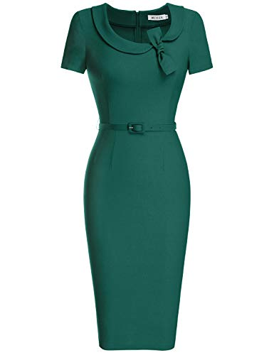 MUXXN Women's Pure Scoop Neck Package Hip Rockabilly Midi Dress (XL Drak Green)