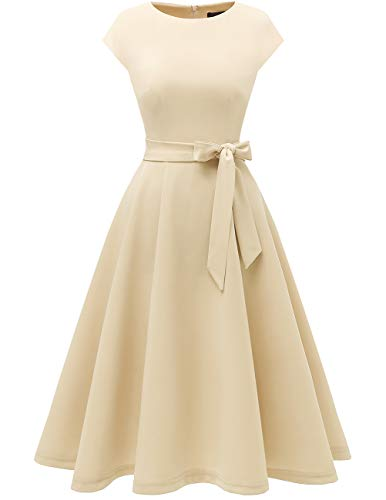 (DRESSTELLS Women's Vintage Tea Dress Prom Swing Cocktail Party Dress with Cap-Sleeves Champagne L)