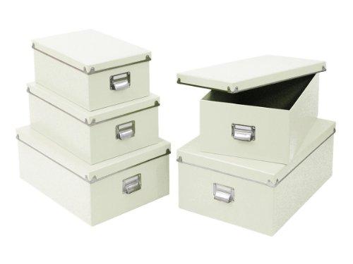 Zeller 17951 Boxen-Set, 5-teilig, Pappe (40 x 29 x 17; 38 x 27.3 x 15.5; 35.5 x 24.5 x 14.5; 33.5 x 22.5 x 13.5; 30.5 x 19.7 x 12.5), weiß