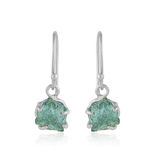 925 Sterling Silver Apatite Gemstone Prong Set Dangle Earrings Fine Jewelry