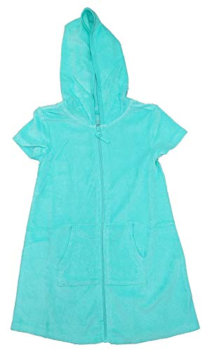 Wonder Nation Girls Aqua Mint Hooded Terry Swim Cover Up - - Terry Swim Cover