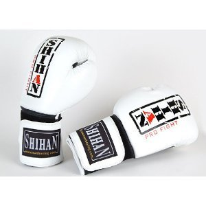 Boxing Gloves SHIHAN-CHAMP Exclusive LEATHER , White/Black 12oz by Shihan