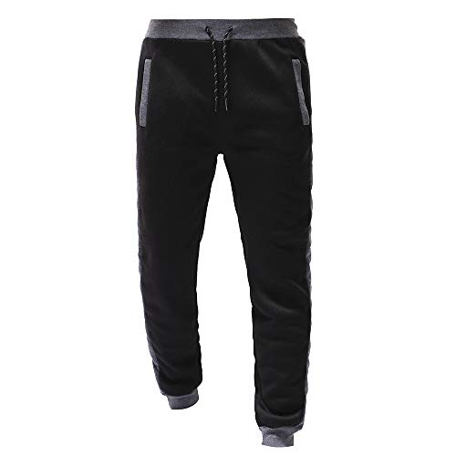 (ANJUNIE Men's Trousers Outdoor Packwork Black Splicing Drawstring Pants(Dark Gray,XXXL))