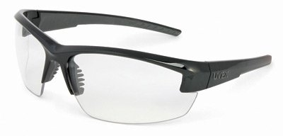 Uvex Mercury Safety Glasses With Black And Gray Frame And Clear Uvextra Anti-Fog Lens