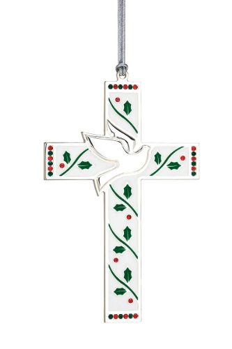 UPC 735092224941, Reed & Barton Silver Plate and Enamel Merry and Bright Cross with Dove, Height 4.5