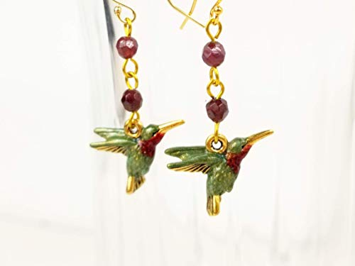 (Green Hummingbird Earrings Hand Painted with Garnet Gemstones and Gold Filled Ear)
